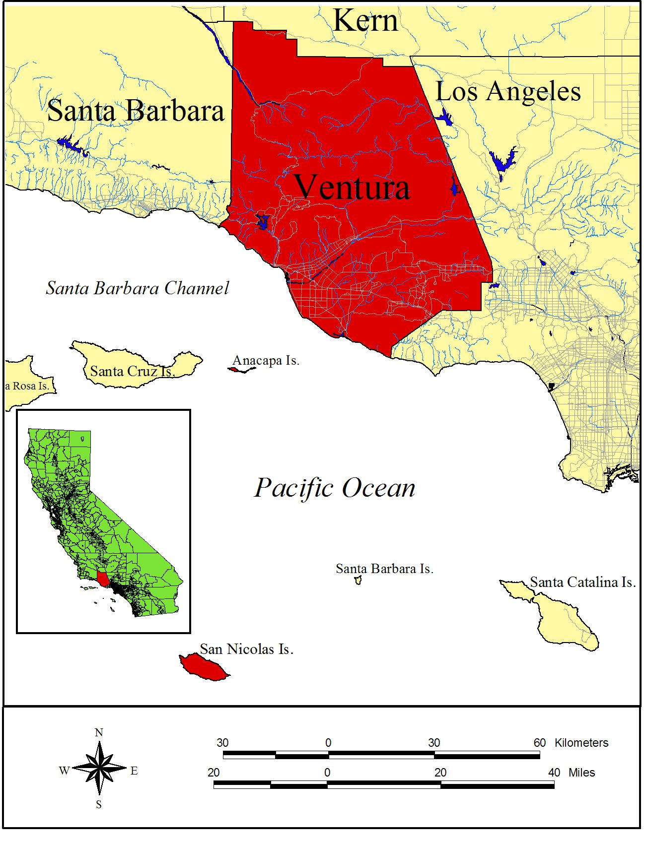 Ventura County Geography - Los angeles ventura map